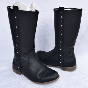 Cat & Jack Black Zip-Up Star Cut Out Tall Boot Sz3